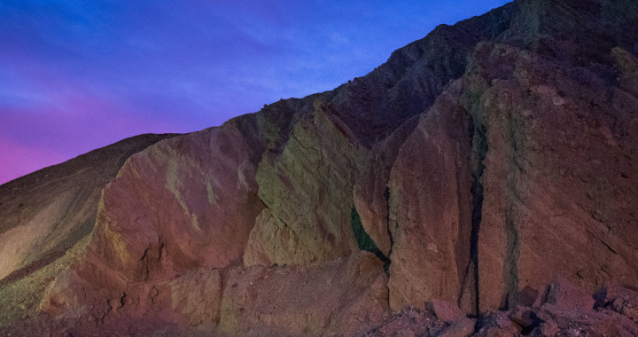 Mixed lighting at twilight in Death Valley