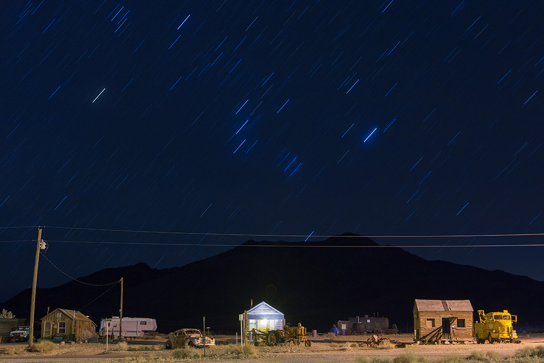 Gold Point Ghost town at night